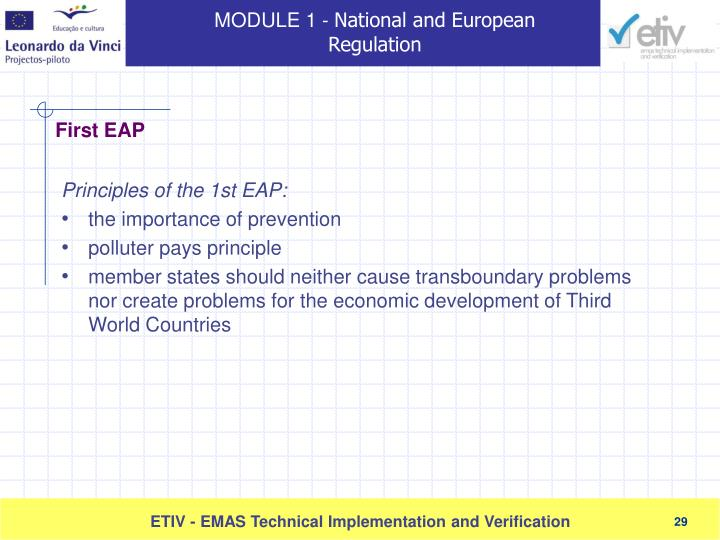 Principles of the 1st EAP: