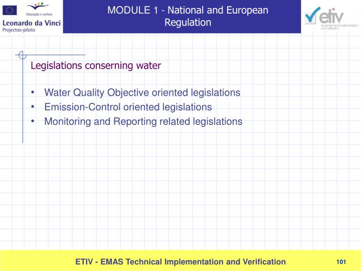 Water Quality Objective oriented legislations