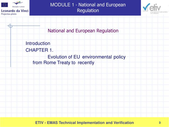 National and european regulation