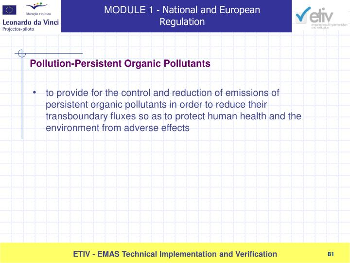 to provide for the control and reduction of emissions of persistent organic pollutants in order to reduce their transboundary fluxes so as to protect human health and the environment from adverse effects