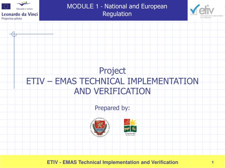 Project etiv emas technical implementation and verification prepared by