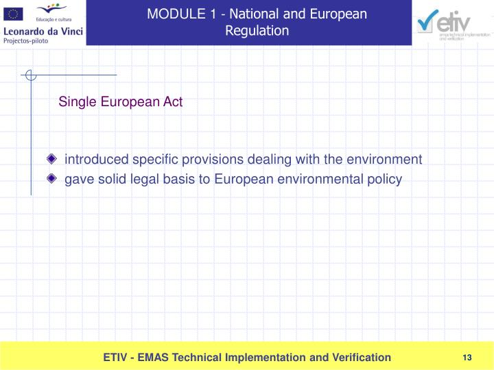 introduced specific provisions dealing with the environment