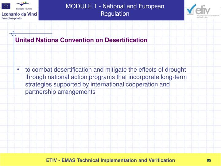 to combat desertification and mitigate the effects of drought through national action programs that incorporate long-term strategies supported by international cooperation and partnership arrangements