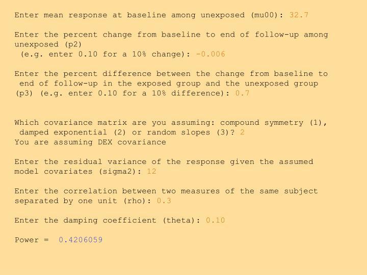 Enter mean response at baseline among unexposed (mu00):