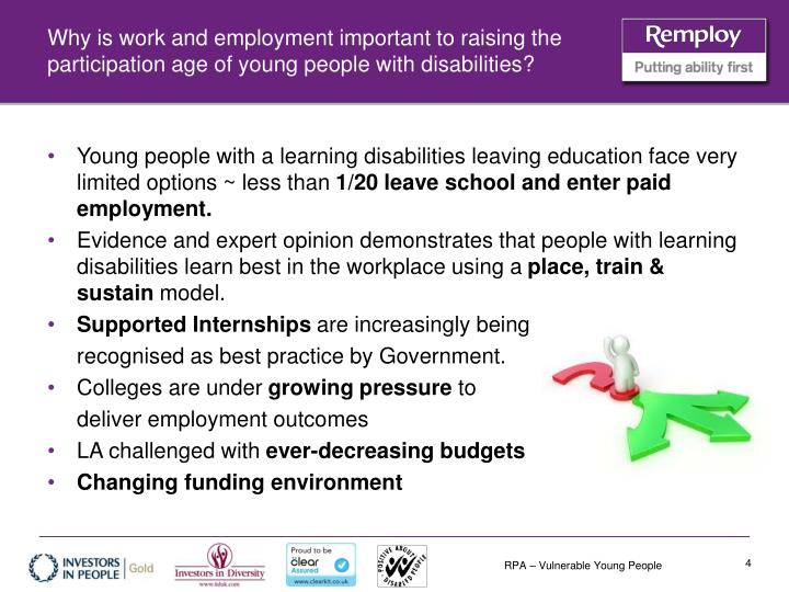 Why is work and employment important to raising the participation age of young people with disabilities?
