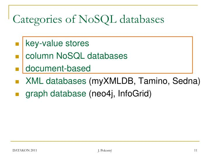Categories of NoSQL databases