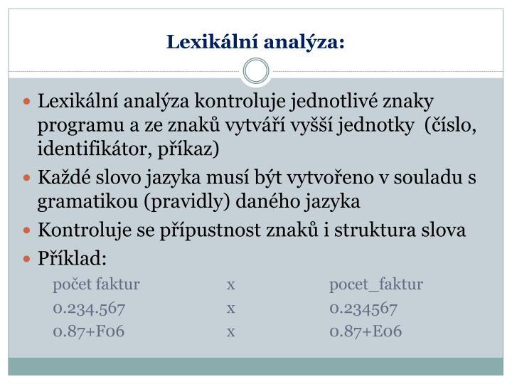 Lexikální analýza: