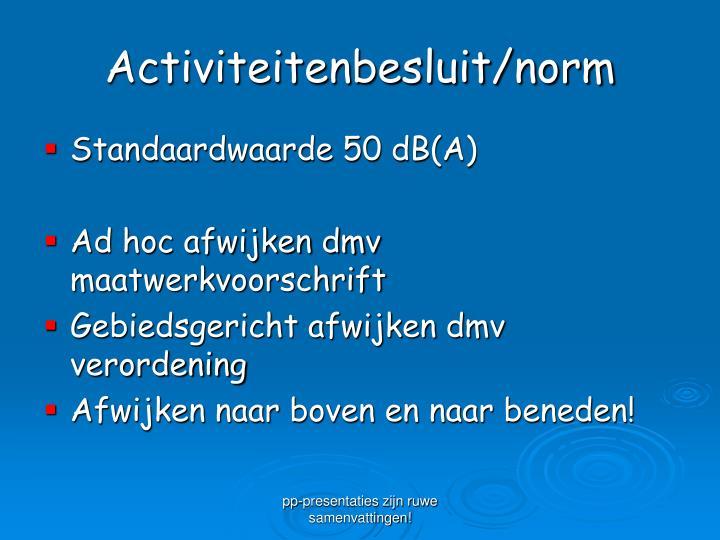 Activiteitenbesluit/norm