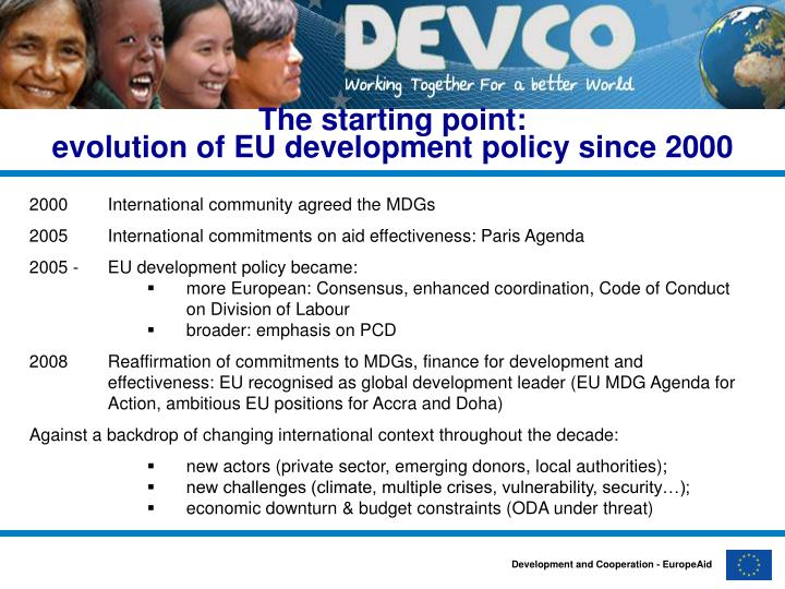 The starting point evolution of eu development policy since 2000