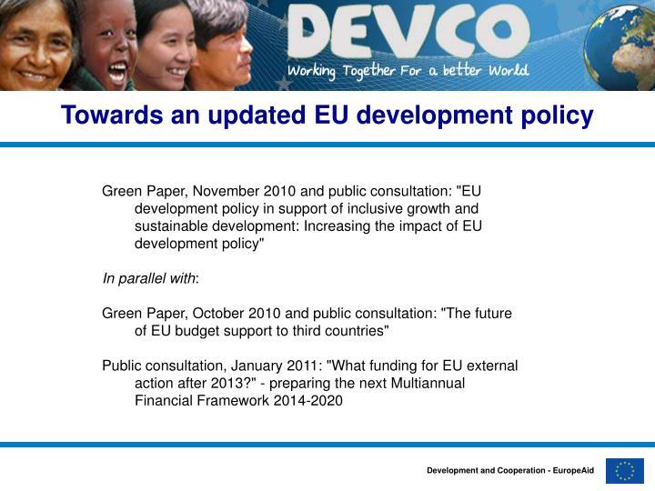 Towards an updated EU development policy