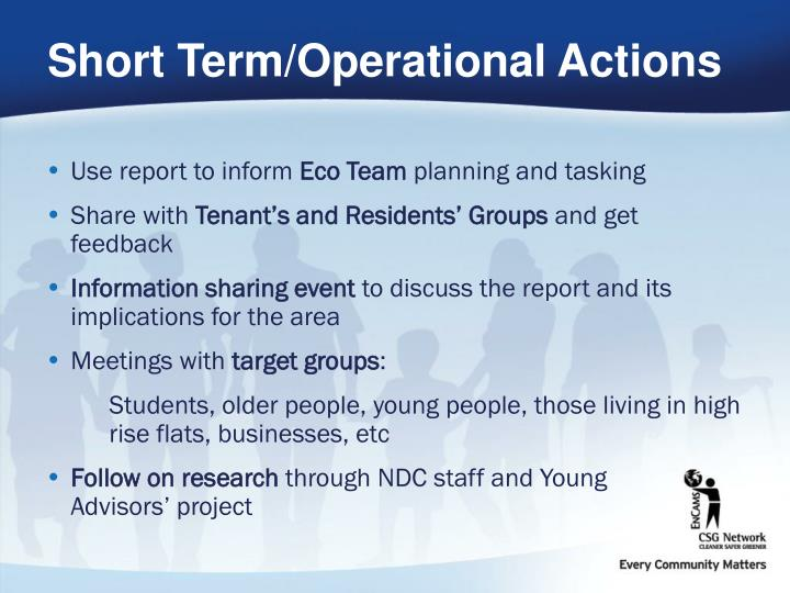 Short Term/Operational Actions