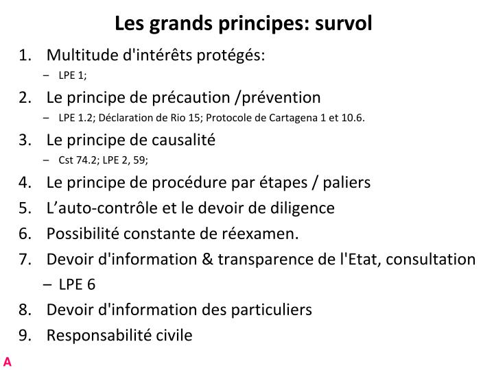 Les grands principes: survol