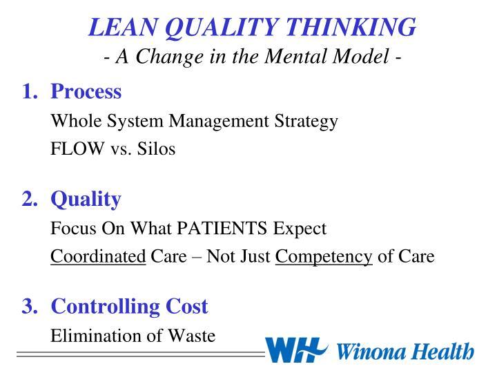 LEAN QUALITY THINKING