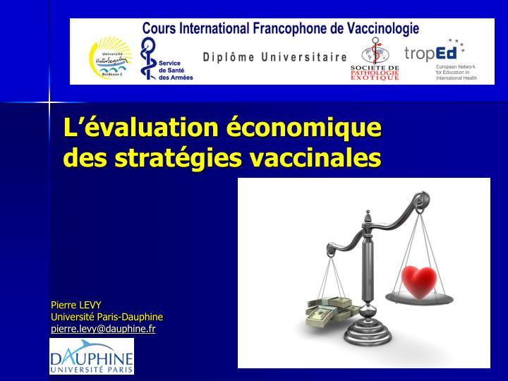 l valuation conomique des strat gies vaccinales