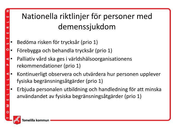 Nationella riktlinjer för personer med demenssjukdom