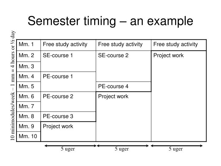 Semester timing – an example