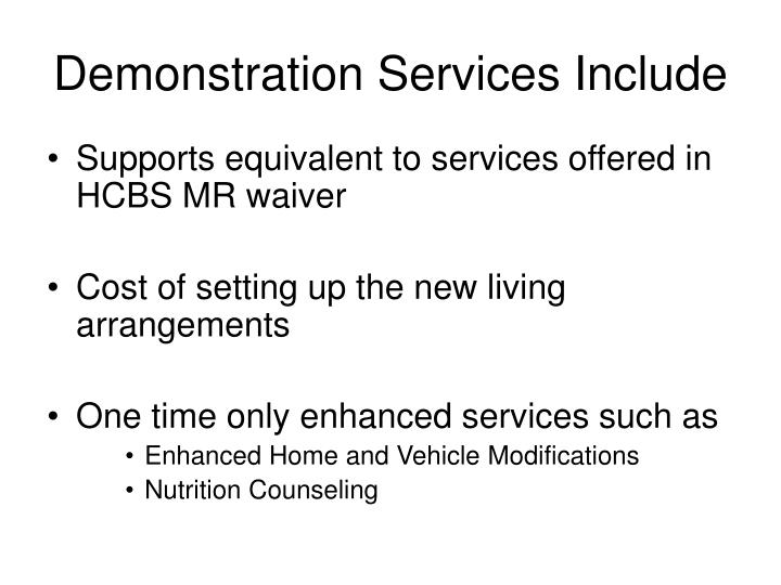 Demonstration Services Include