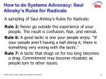 how to do systems advocacy saul alinsky s rules for radicals