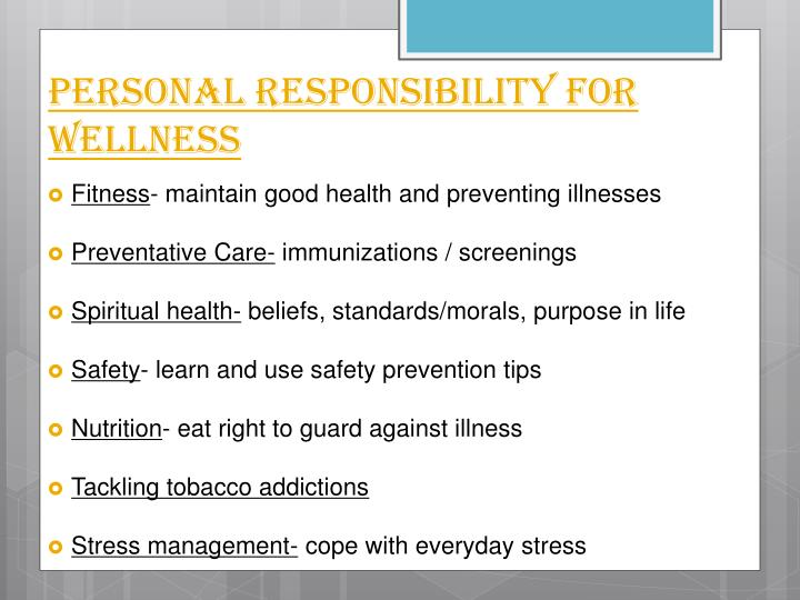 Personal Responsibility for Wellness