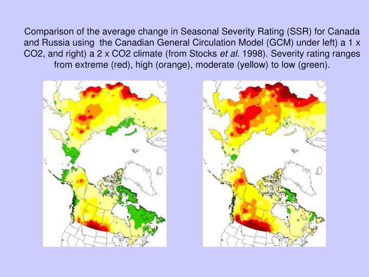 Comparison of the average change in Seasonal Severity Rating (SSR) for Canada and Russia using  the Canadian General Circulation Model (GCM) under left) a 1 x CO2, and right) a 2 x CO2 climate (from Stocks