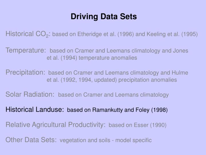 Driving Data Sets