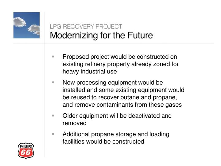 Proposed project would be constructed on existing refinery property already zoned for heavy industrial use