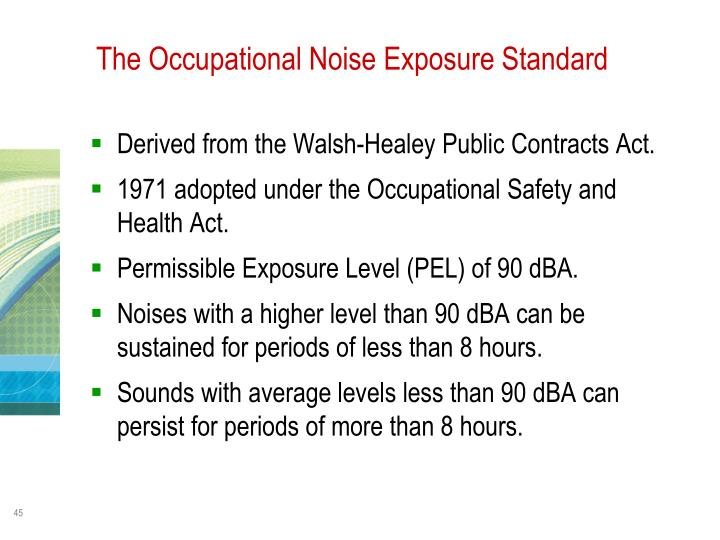 The Occupational Noise Exposure Standard