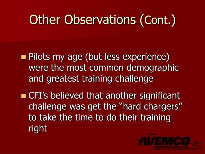Other Observations (