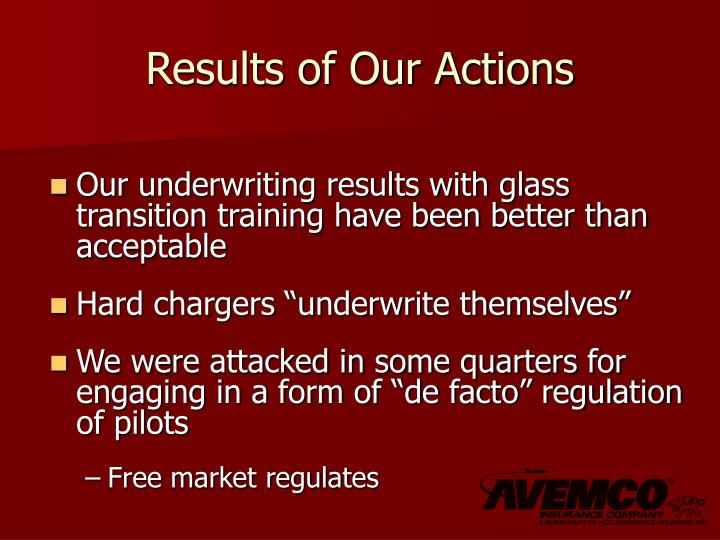 Results of Our Actions