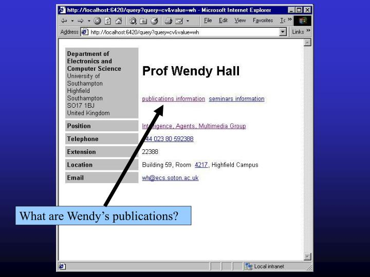 What are Wendy's publications?