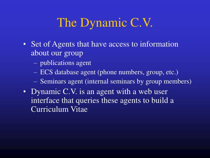 The Dynamic C.V.
