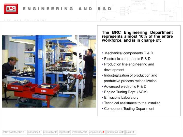 The BRC Engineering Department represents almost 10% of the entire workforce, and is in charge of: