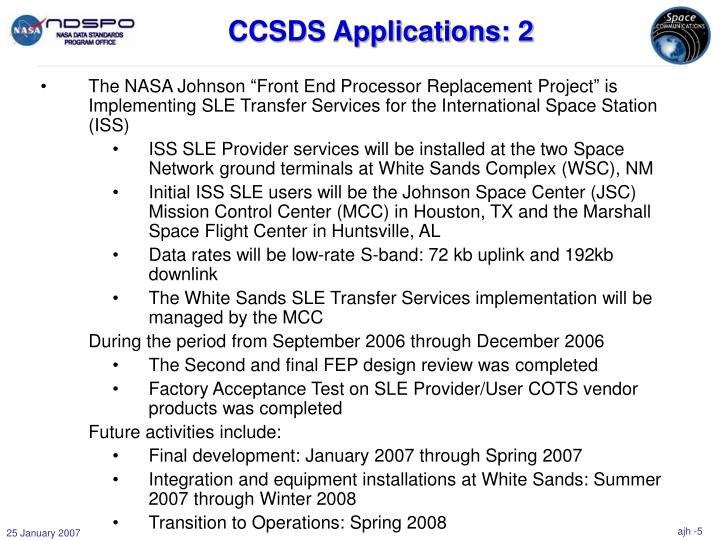 CCSDS Applications: 2