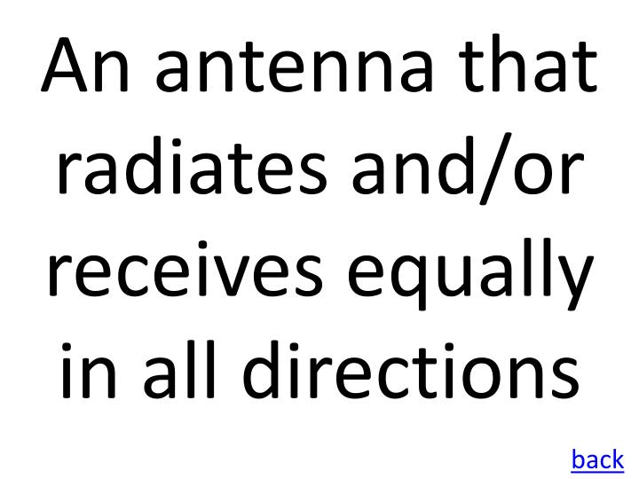 An antenna that radiates and/or receives equally in all directions