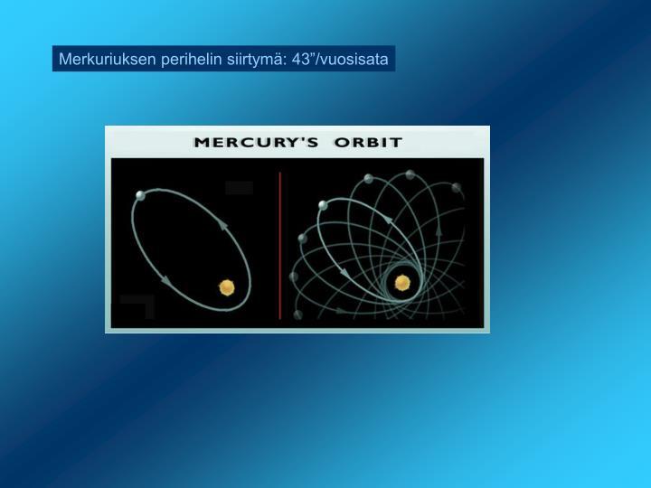 """Merkuriuksen perihelin siirtymä: 43""""/vuosisata"""