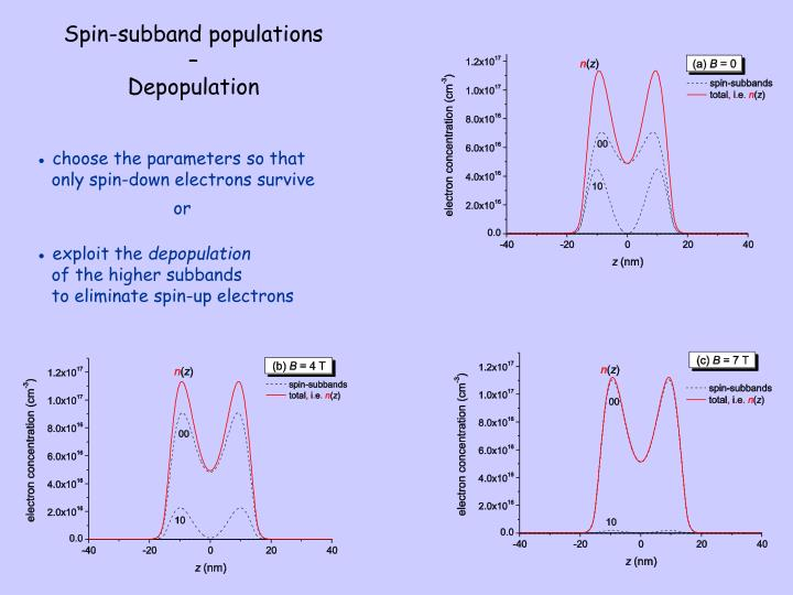 Spin-subband populations