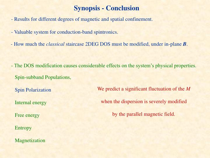 Synopsis - Conclusion