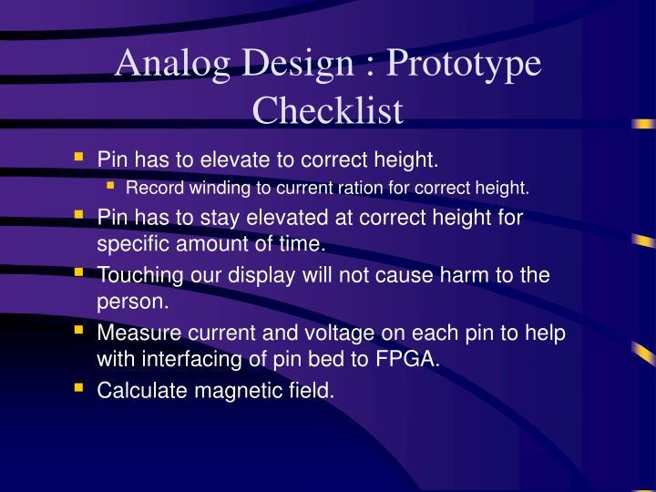 Analog Design : Prototype Checklist