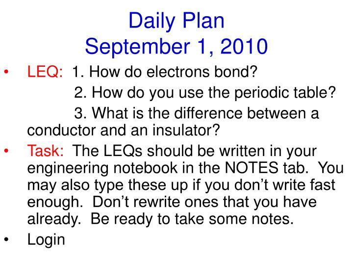 Daily plan september 1 2010