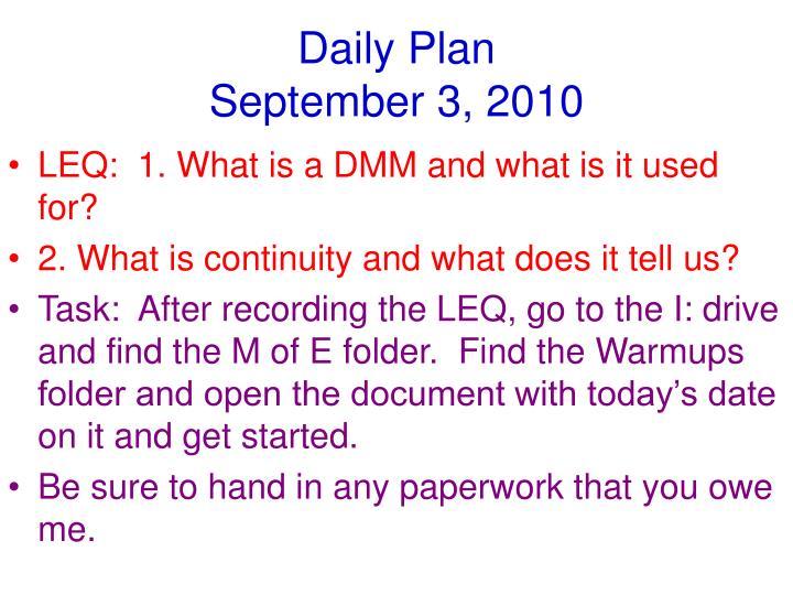 Daily plan september 3 2010