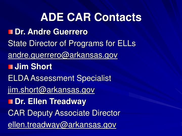 ADE CAR Contacts