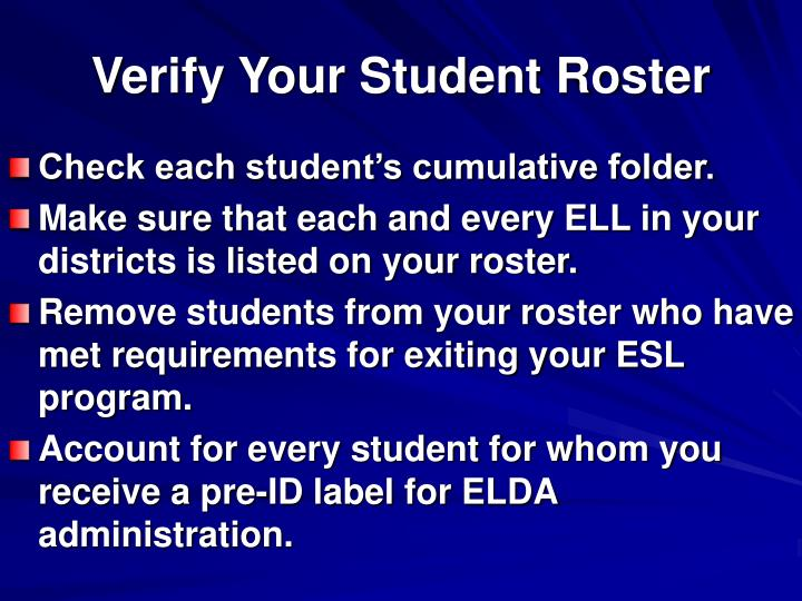 Verify Your Student Roster