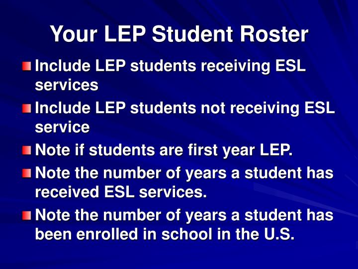 Your LEP Student Roster