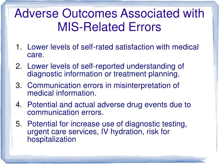 Adverse Outcomes Associated with MIS-Related Errors