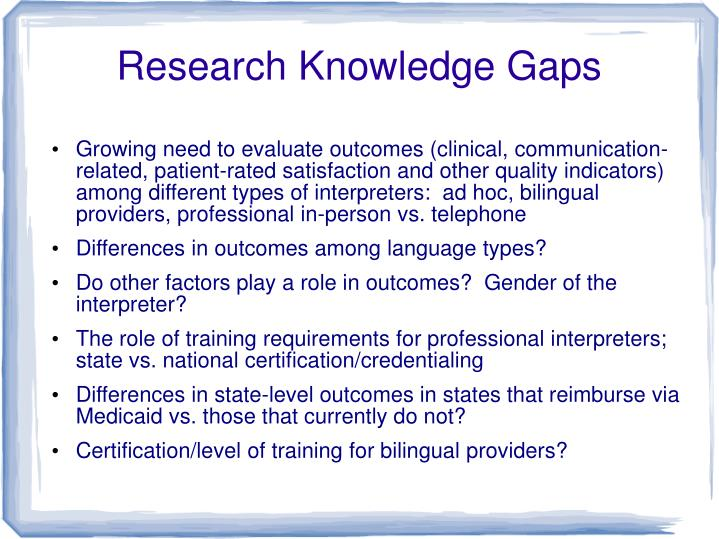 Research Knowledge Gaps