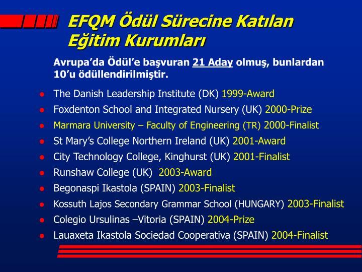 EFQM Ödül Sürecine Katılan Eğitim Kurumları