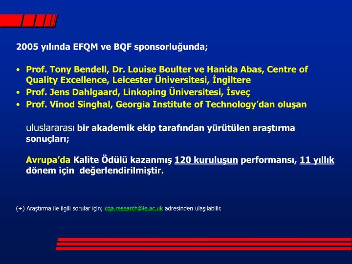 2005 yılında EFQM ve BQF sponsorluğunda;