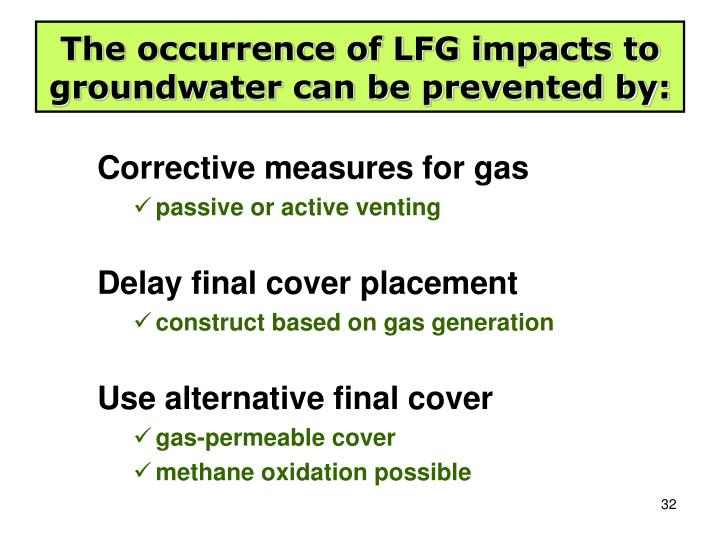 The occurrence of LFG impacts to groundwater can be prevented by: