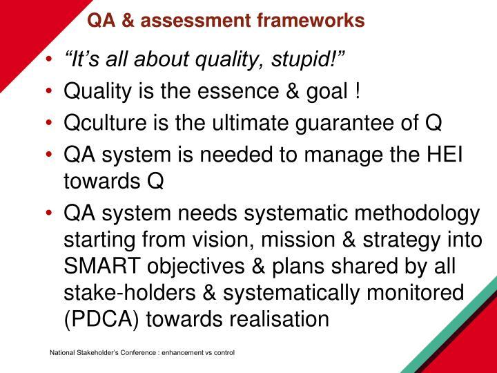 QA & assessment frameworks