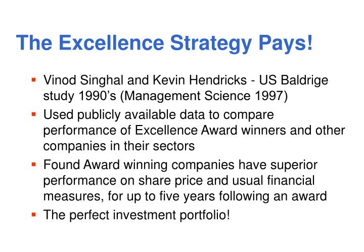 The Excellence Strategy Pays!